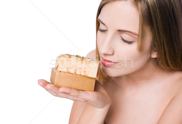 Spa beauty with hand crafted organic soap. Stock photo © lithian