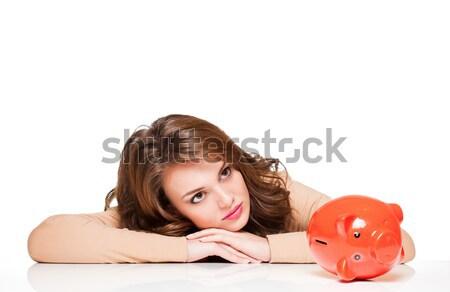 Fölösleges pénz gyönyörű fiatal barna hajú nő Stock fotó © lithian