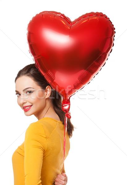 Flutuante corações retrato jovem morena Foto stock © lithian