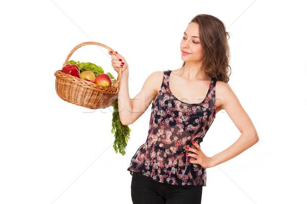 Сток-фото: корзины · здорового · великолепный · молодые · брюнетка · женщину