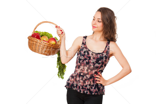 Basket of healthy goodies. Stock photo © lithian