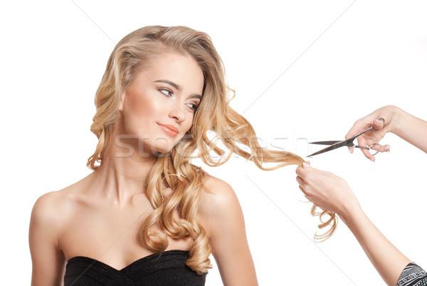 Stockfoto: Blond · schoonheid · gezonde · haren · portret · verbazingwekkend