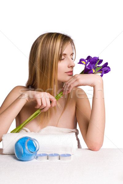 Blond spa fille iris fleurs portrait Photo stock © lithian