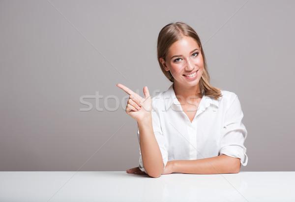 Expressive blond woman. Stock photo © lithian