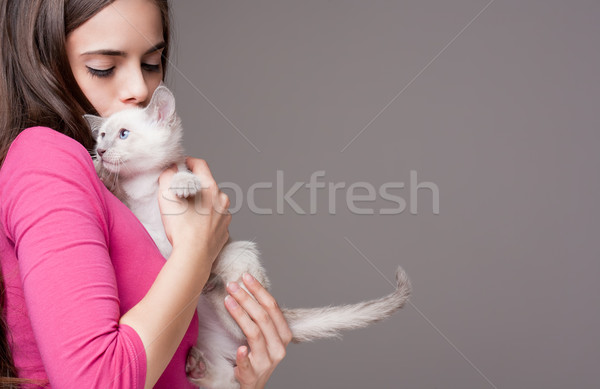 Brunette beauté cute chaton portrait belle Photo stock © lithian