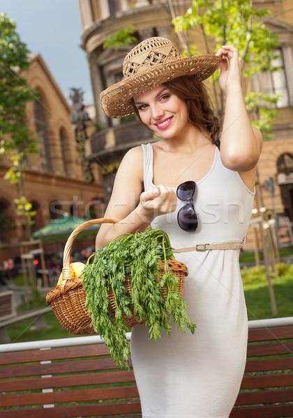 Stock foto: Frischen · gesunden · schönen · jungen · Brünette · Frau