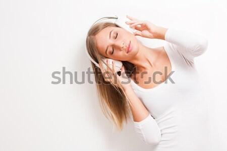 Rüya gibi müzik genç esmer Stok fotoğraf © lithian