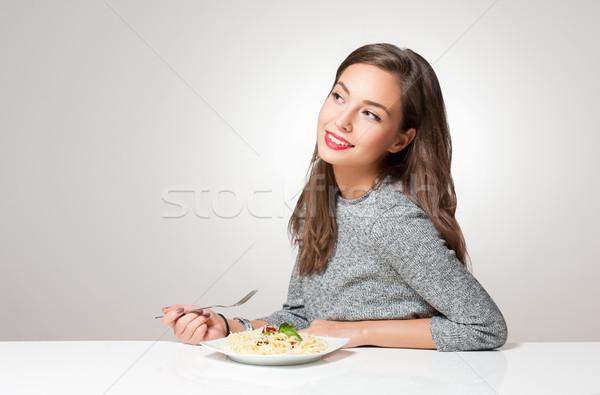Genç esmer İtalyan gıda kadın gıda Stok fotoğraf © lithian