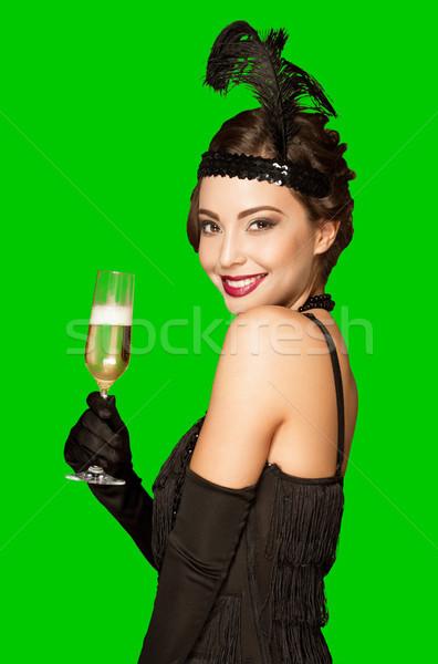 Art deco buli lány zöld képernyő stílus Stock fotó © lithian