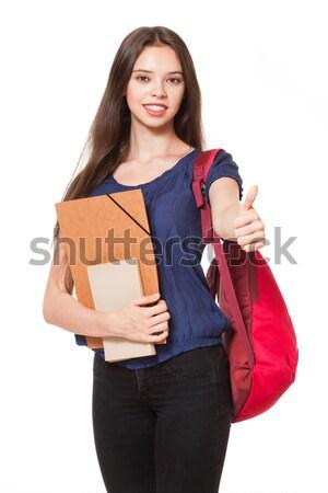 Divatos fiatal diák izolált fehér lány Stock fotó © lithian