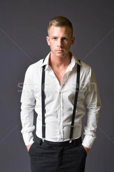Jonge mannelijke mode model halve lengte portret Stockfoto © lithian