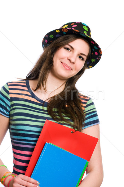 Smiling young student girl. Stock photo © lithian