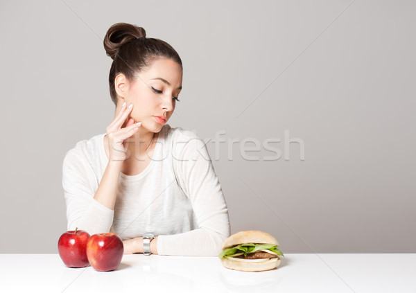 ストックフォト: ダイエット · アドバイス · 肖像 · 小さな · ブルネット · 美