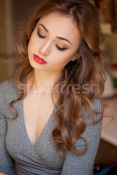 ゴージャス ブルネット 化粧 肖像 女性 カラフル ストックフォト © lithian