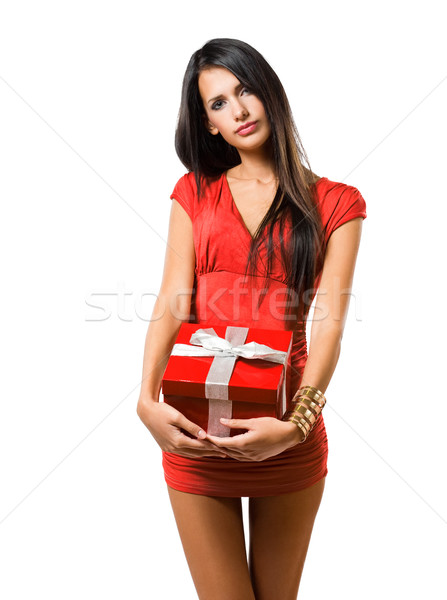 Giftbox brunette beauty. Stock photo © lithian