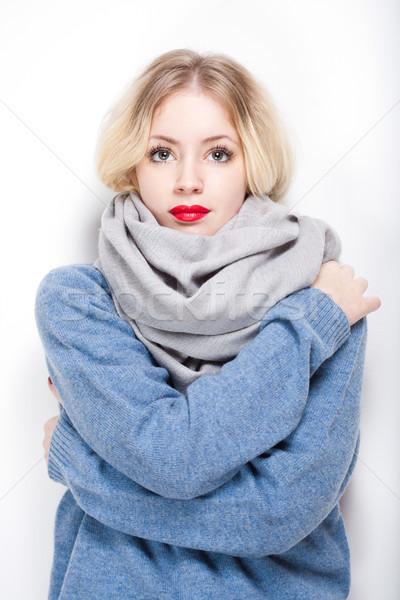 Stock foto: Kalten · Schönheit · Porträt · schönen · jungen · blond