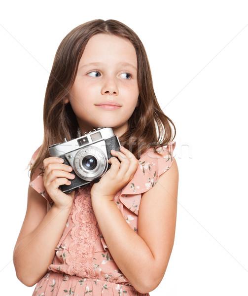 ストックフォト: 小さな · ブルネット · 少女 · 肖像 · かわいい