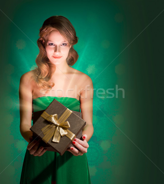 Blond beauty with present. Stock photo © lithian