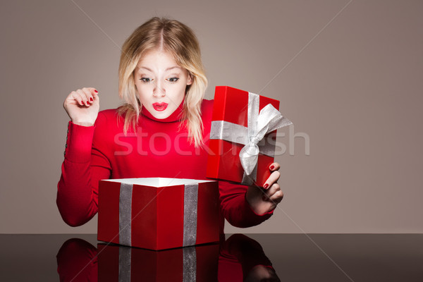 Red gift box cutie. Stock photo © lithian