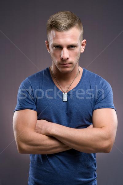 Sert adam portre eril bakıyor genç Stok fotoğraf © lithian