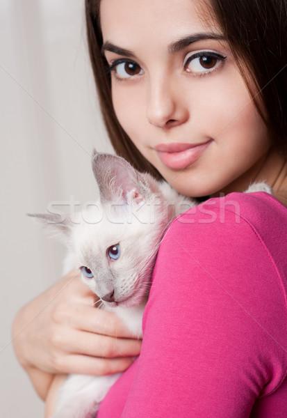 Stock fotó: Barna · hajú · szépség · aranyos · kiscica · portré · gyönyörű