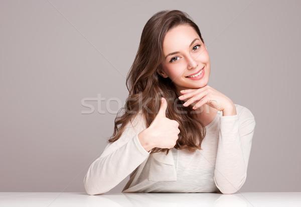 Kifejező barna hajú szépség portré káprázatos fiatal Stock fotó © lithian
