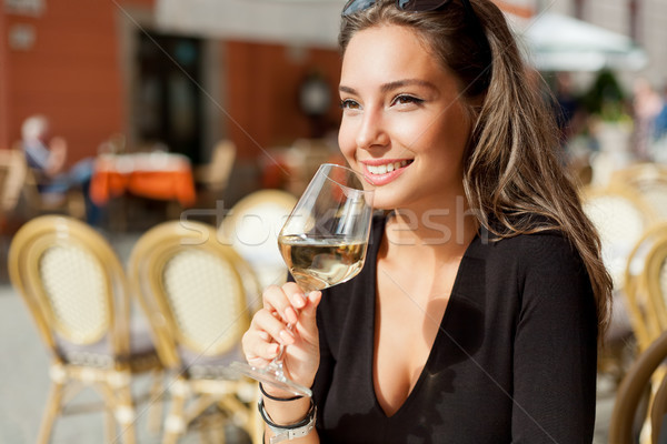 Wine tasting tourist woman. Stock photo © lithian