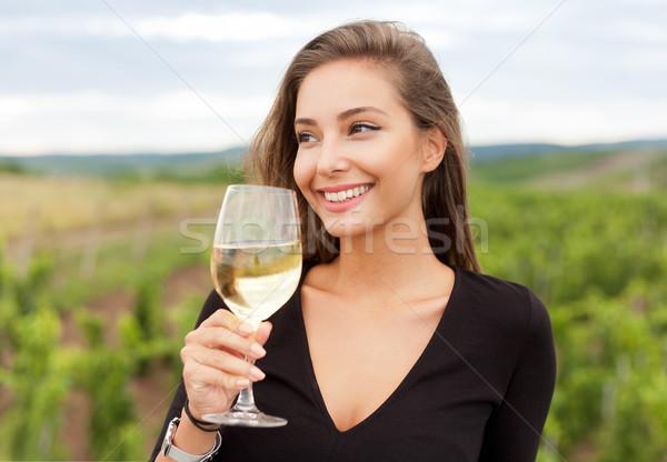 Brunette beauty having wine fun. Stock photo © lithian