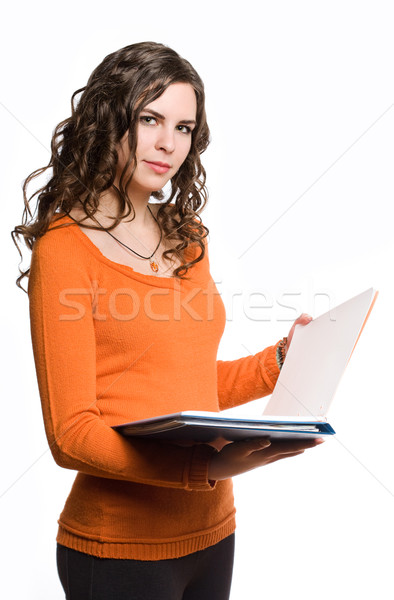Stock photo: Young brunette student girl.