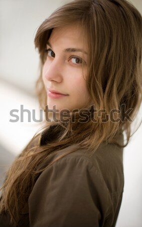 Stock photo: Closeup portrait of gorgeous young brunette girl.