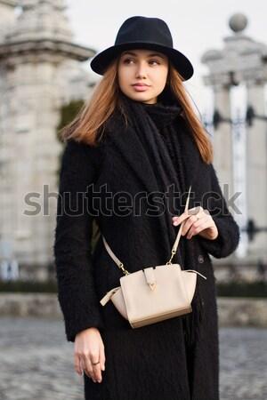 Winter fashion brunette. Stock photo © lithian