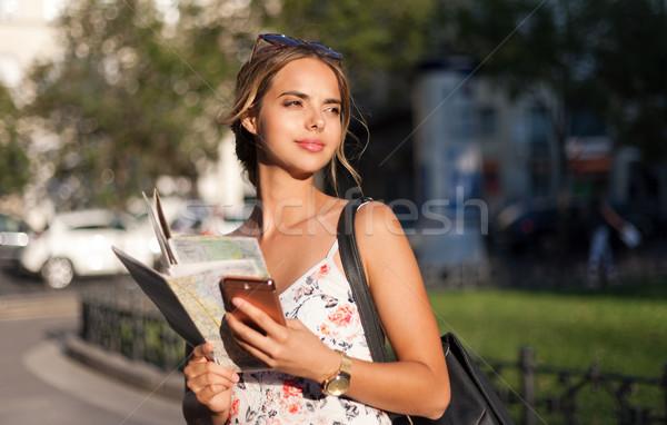 красивой молодые туристических женщину навигация Сток-фото © lithian