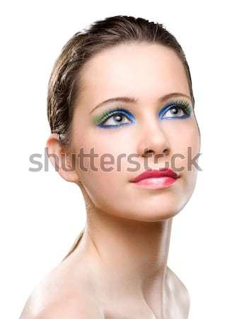Nőies szépség színes smink portré kreatív Stock fotó © lithian