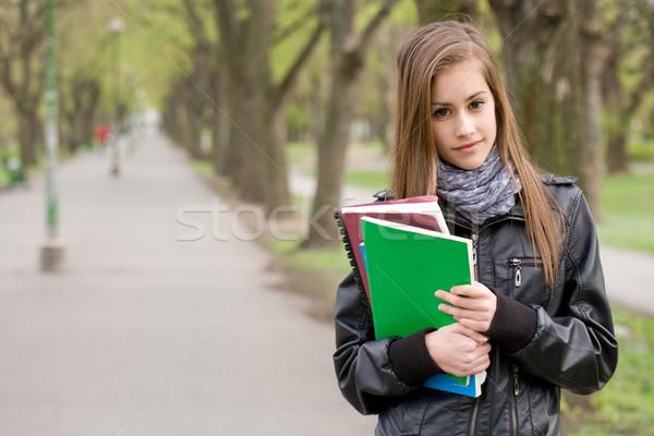 Zdjęcia stock: świeże · młodych · student · dziewczyna · parku · portret