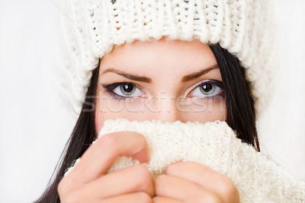 Tímido invierno moda belleza primer plano retrato Foto stock © lithian