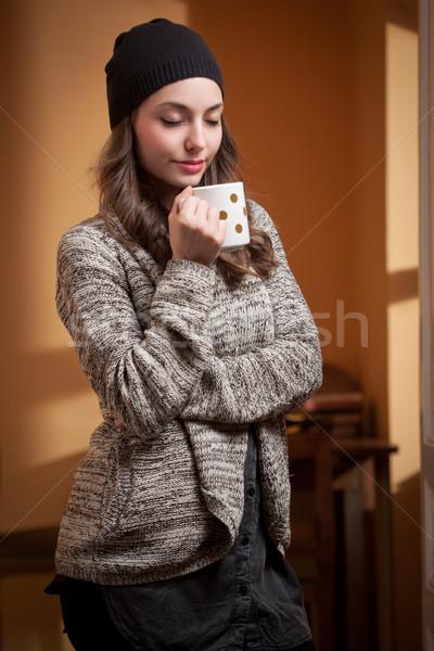 Meleg kényelem gyönyörű fiatal barna hajú nő Stock fotó © lithian