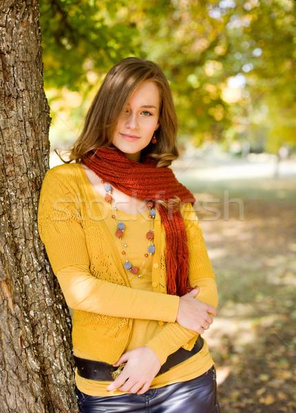 Kolorowy harmonia jesienią portret modny przyjazny Zdjęcia stock © lithian