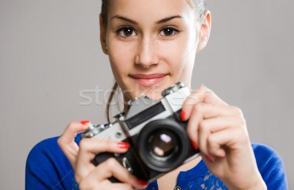Cute jonge fotograaf mooie Stockfoto © lithian