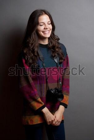 Jonge kunstenaar studio portret cute meisje Stockfoto © lithian