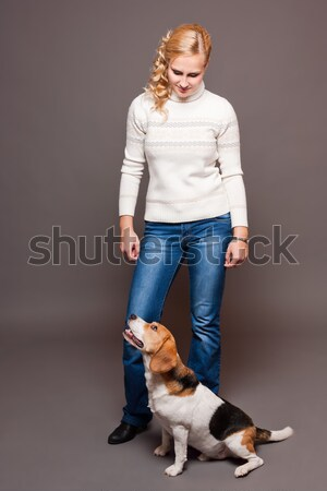 Metgezel portret mooie jonge blond vrouw Stockfoto © lithian