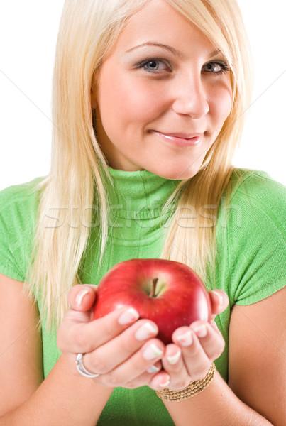 Dieta sana bella giovani offrendo mela rossa Foto d'archivio © lithian