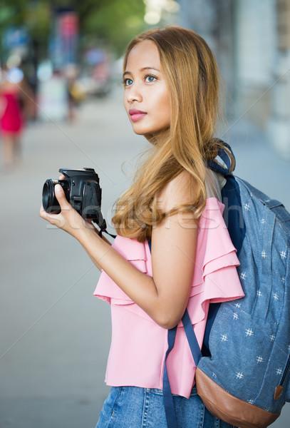 Beautiful asian tourist woman. Stock photo © lithian