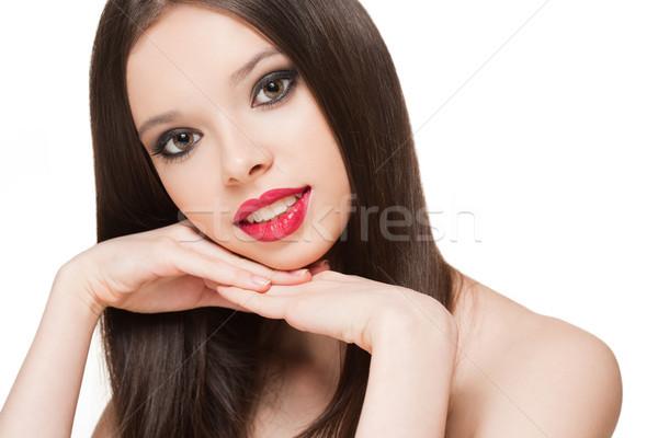 Magnifico trucco ragazza ritratto giovani bruna Foto d'archivio © lithian