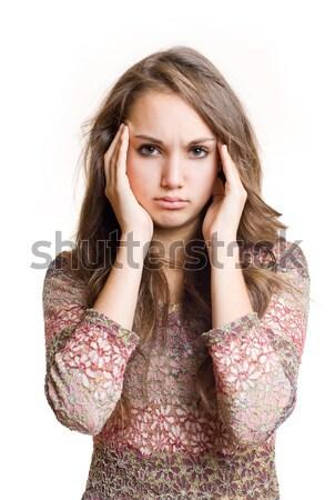 Dolor de cabeza hermosa jóvenes morena nina Foto stock © lithian
