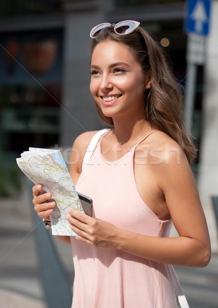 Beautiful young tourist woman. Stock photo © lithian