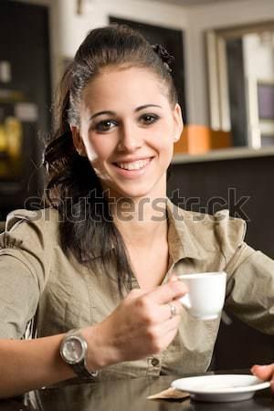 Brunetka piękna kawy portret kobieta Zdjęcia stock © lithian