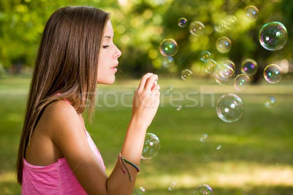 Livre bubbles retrato belo jovem Foto stock © lithian