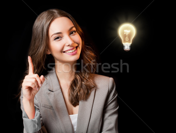 Creativa ideas hermosa mujer de negocios bombilla Foto stock © lithian