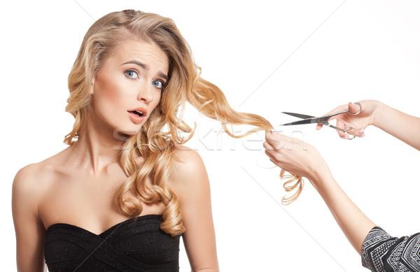 Szőke szépség elképesztő haj portré fiatal Stock fotó © lithian