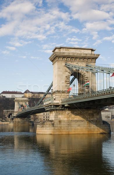 The Szechenyi Bridge in bright morning sunlight. Stock photo © lithian